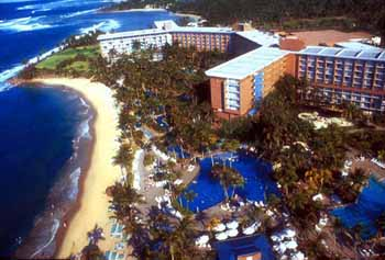 Aerial of the Hyatt Regency Cerromar Beach Resort in Puerto Rico